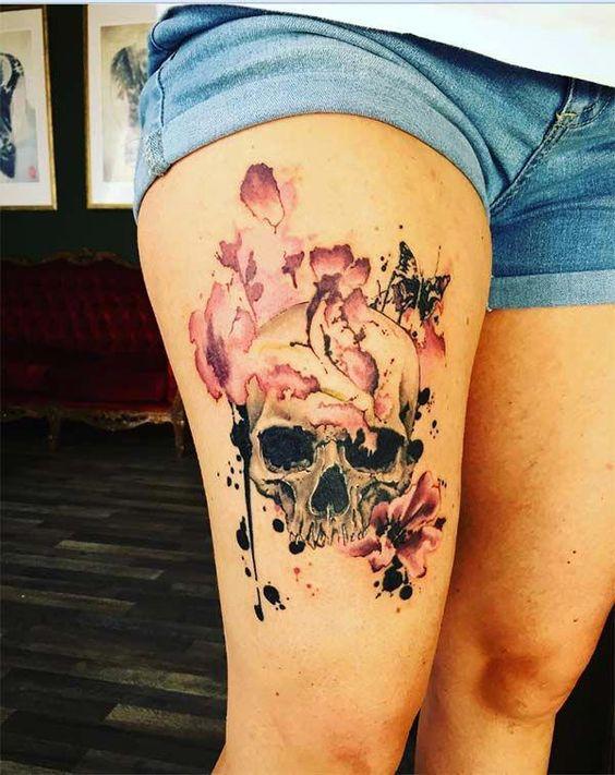 thigh skull tattoo