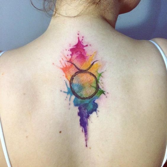 water Color Taurus Tattoo on back