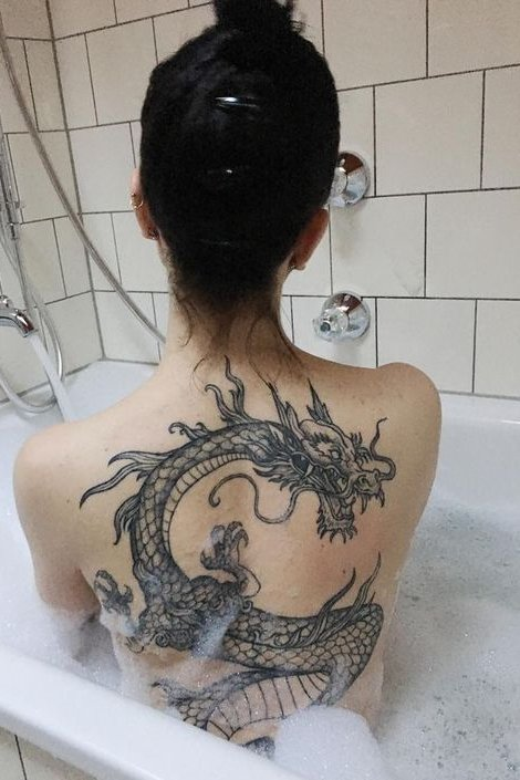 back large dragon tattoo