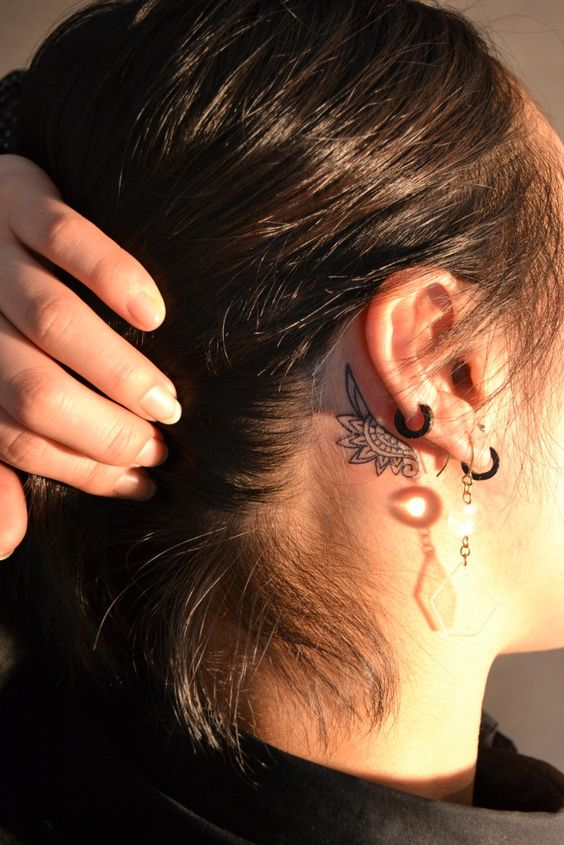 Behind ear tattoos for females