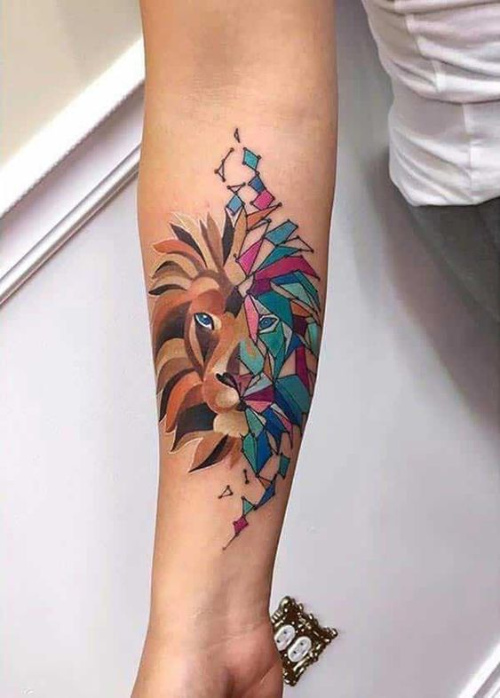 geometric lion tattoo on wrist