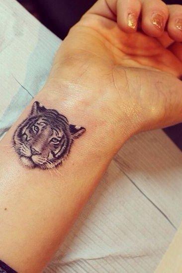 Tiger Face Tattoo on Wrist