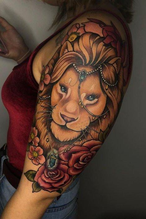 3D lion Tattoo on Shoulder