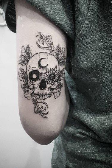moon + flowers + skull tattoo