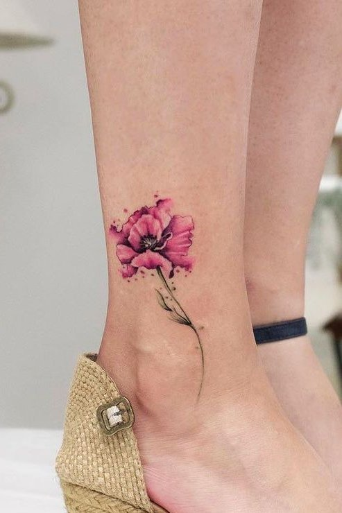 Flower tattoo on ankle