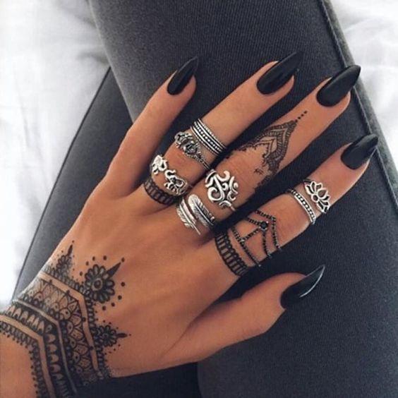 black blue henna tattoo designs on hand