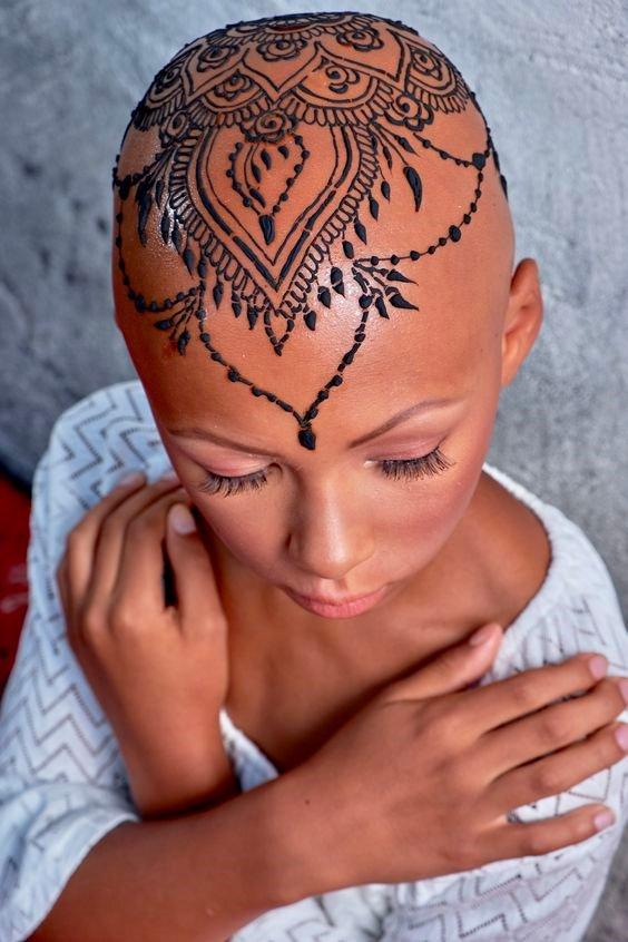 henna tattoos on head