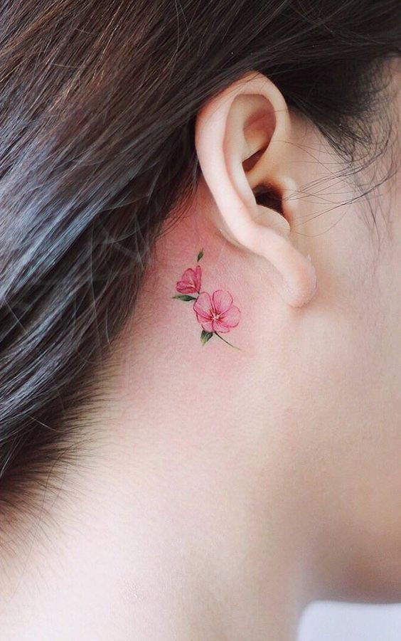behind the ear rose tattoo