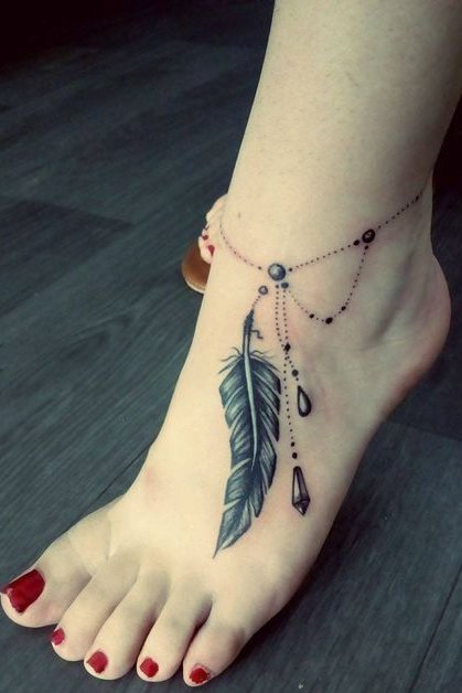 Feather Tattoo on foot