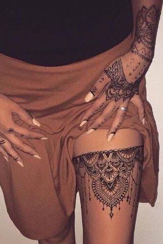 black henna tattoo designs on thigh