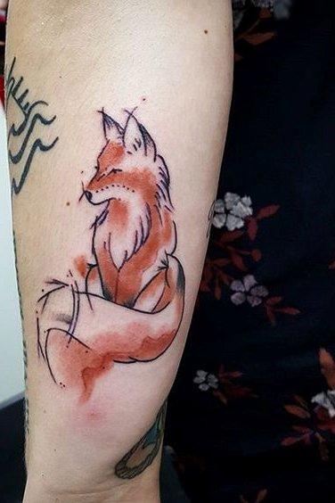 fox watercolor tattoo