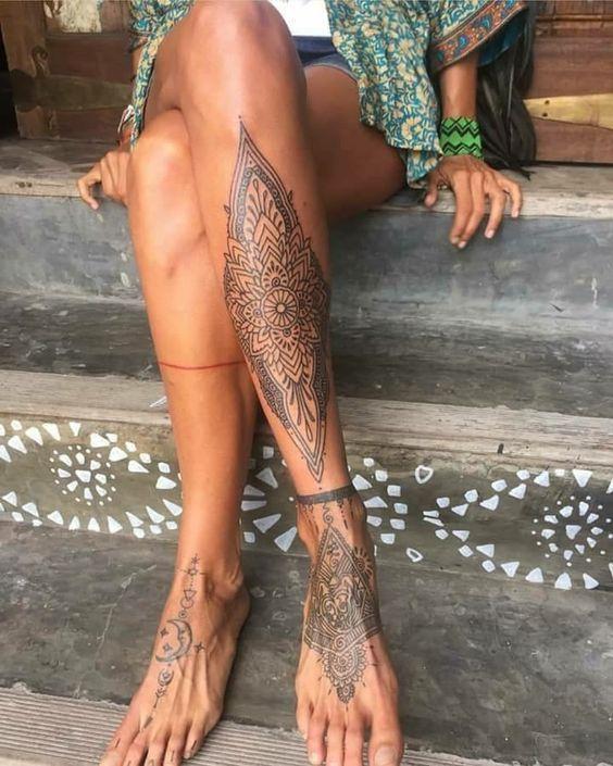 Flower Leg Tattoos for women