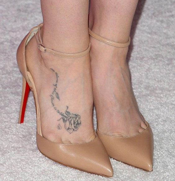 Lily Collins tattoo on foot