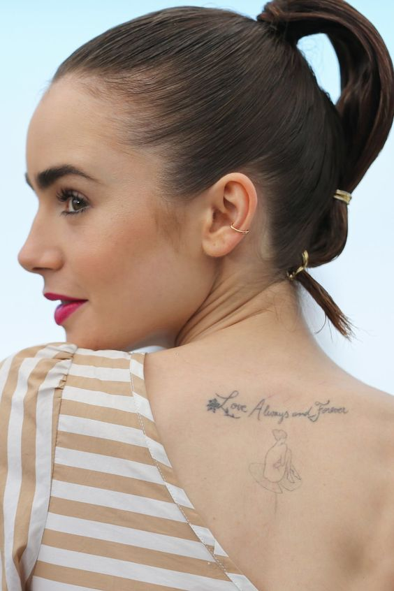 Lily Collins tattoo on back