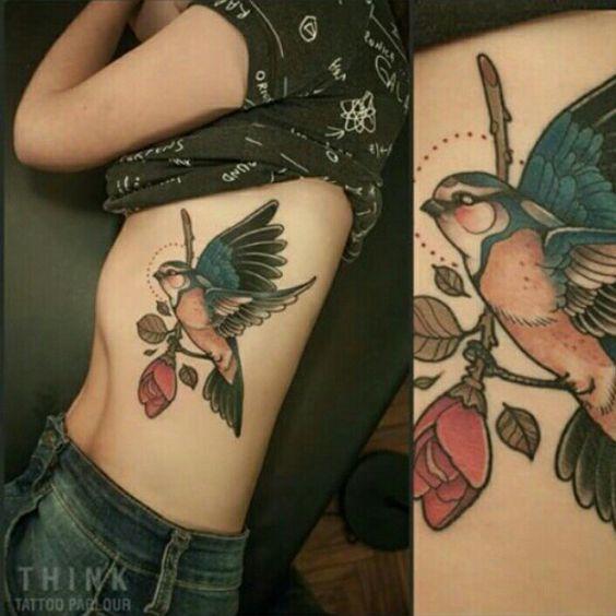 bird tattoos for women on stomach