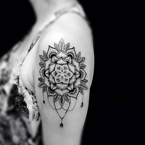 Lotus flower mandala tattoo on shoulder
