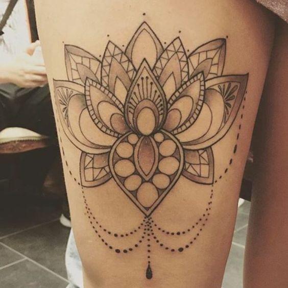 Lotus flower mandala tattoo on thigh