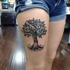 Tree Tattoo on leg