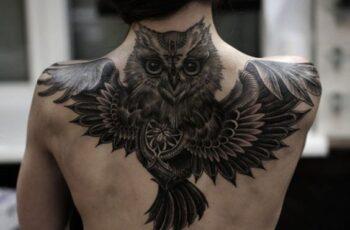 Owl tattoo on back