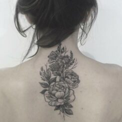 upper back flower tattoo