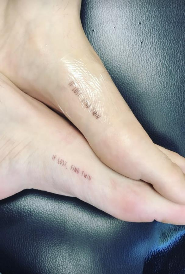 "If Lost, Find Twin"" Tattoo on Foot"