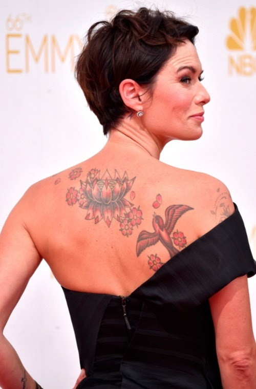 Lena Headey Back Monster Tattoo