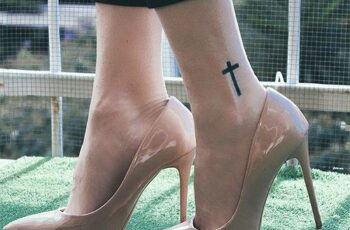 Cross Tattoo on Ankle