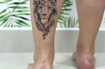 flower & Lion Mix Tattoo on Calf