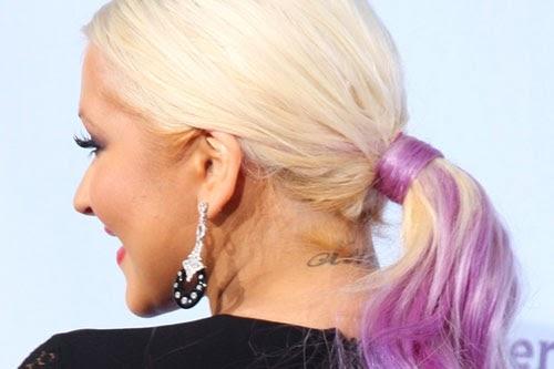 Christina Aguilera Tattoo on back neck